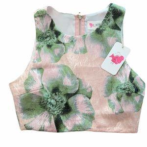 L'ATISE Pink Green Floral Zipper Crop Top Blouse